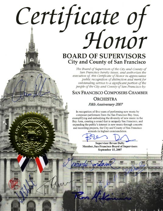 Certificate of Honor from the city of San Francisco